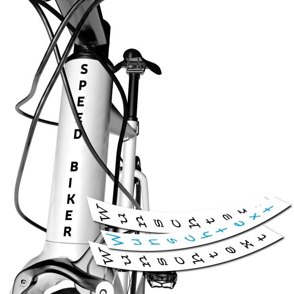 Beschriftung Fahrrad Rahmen vertikal