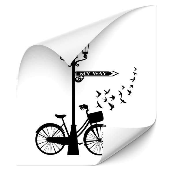My Way | Fahrrad Wandtattoo | Schwalben