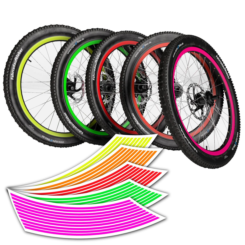 Anh/änger Reflektoren-Aufkleber f/ürs Fahrrad Dreirad reflexsticker in Neon-Edition f/ür Fahrradfelgen gelb oder orange 12 bis 24 Zoll Felgen Kinder Laufrad 24 Streifen im Set