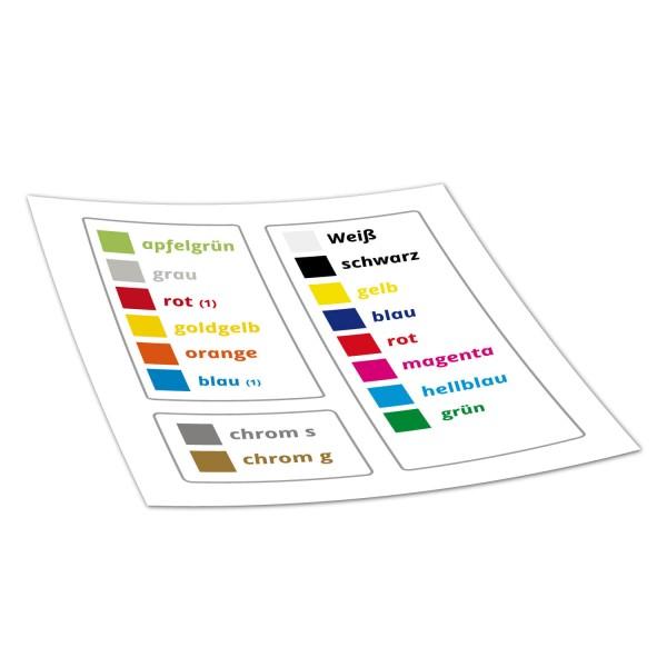 Farbmuster Thermotransfer Fahrradaufkleber