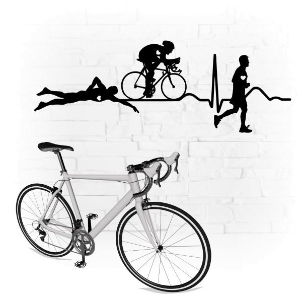 Triathlon EKG Wandtattoo