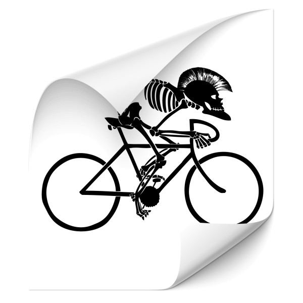 Skull by bike | Fahrradaufkleber Wand