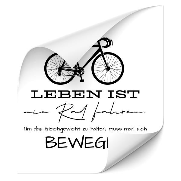 Leben ist wie Rad fahren | Wandtattoo