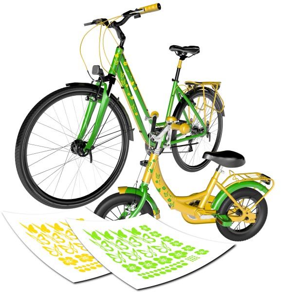 Fahrrad Aufkleber Set | Schmetterlinge Hibiskus