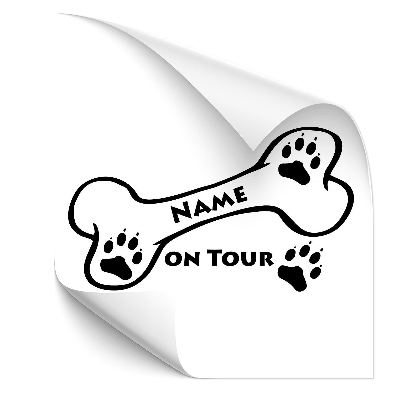 Hundknochen mit Wunschname Heckscheiben Sticker - Beschriftung