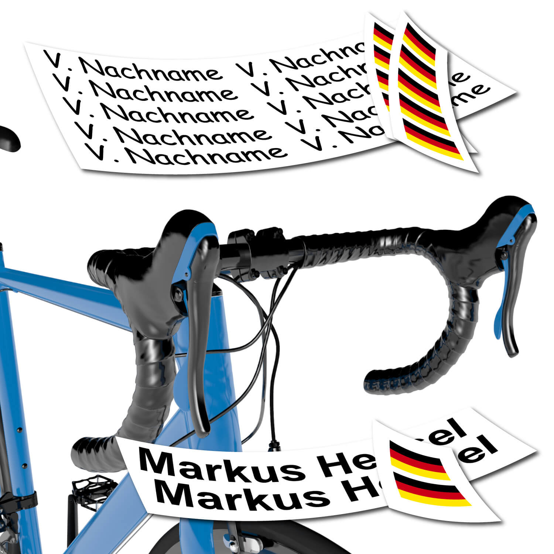 Namensaufkleber Flagge für Fahrrad
