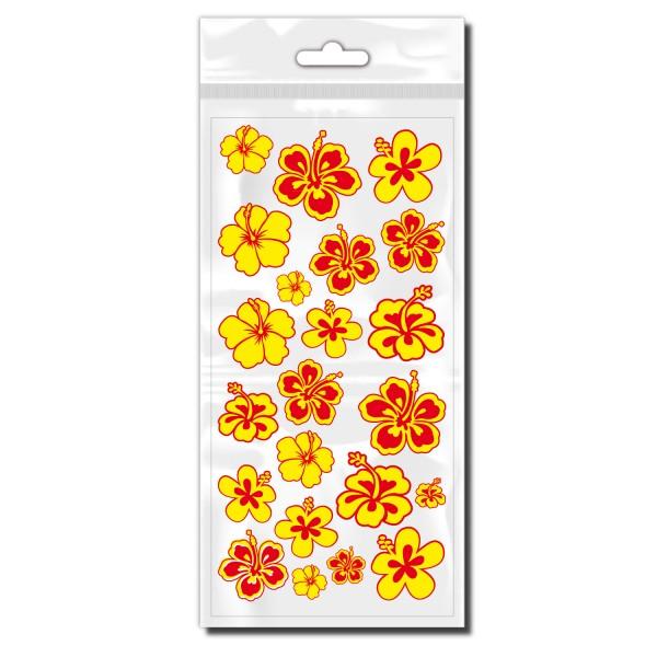 Fahrrad Blümchen Sticker gelb rot