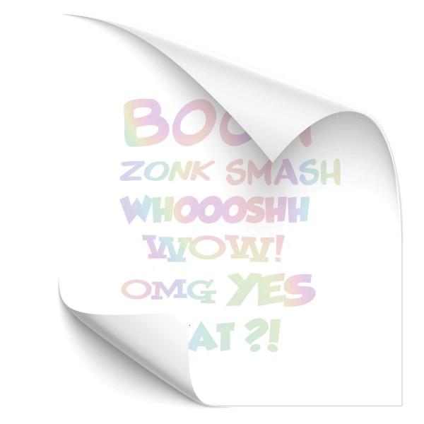 Comic Sticker Hologramm Aufkleber BOOM WOW OMG