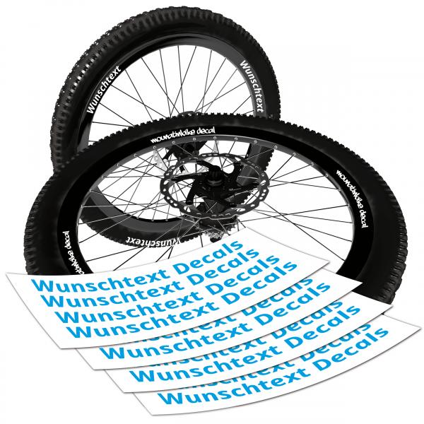 Mountainbike Laufrad Decals + Wunschtext